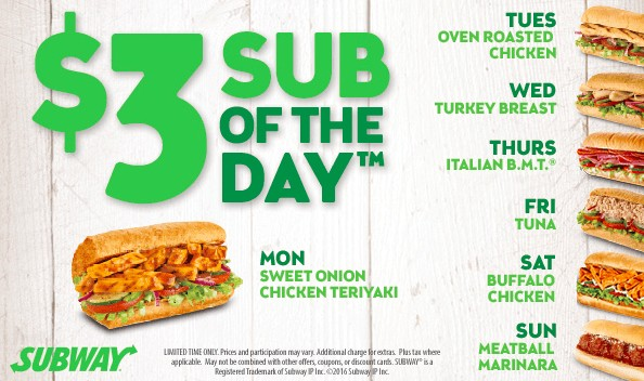 Subway's Sandwich of the Day only $3.99 Each!