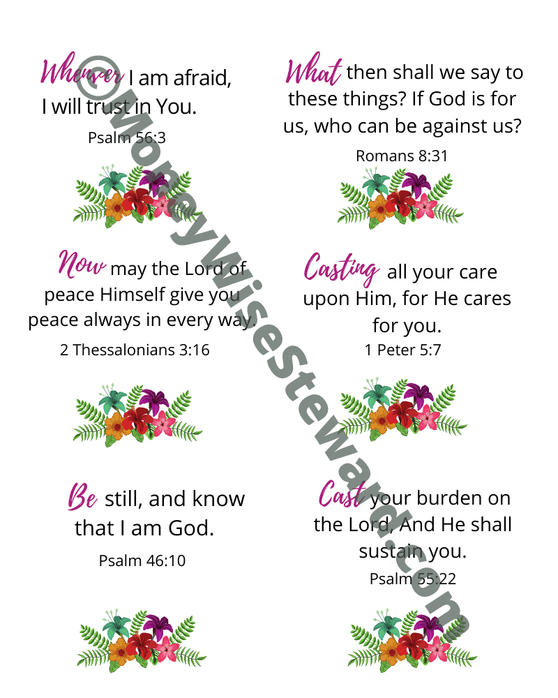 Free Printable Bible Verses about Anxiety