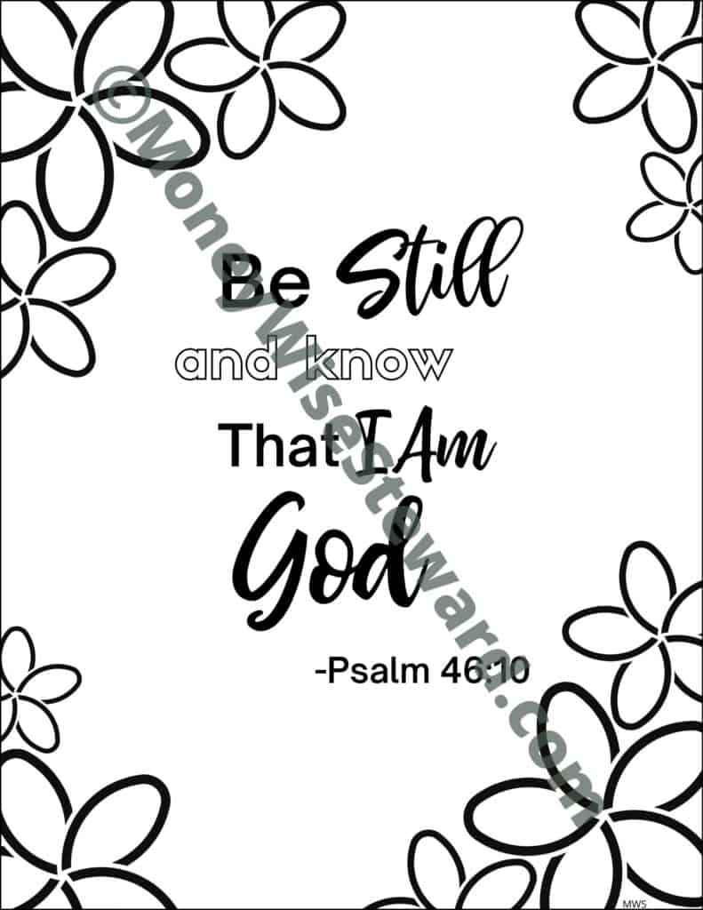 Be Still and Know Bible Coloring Page