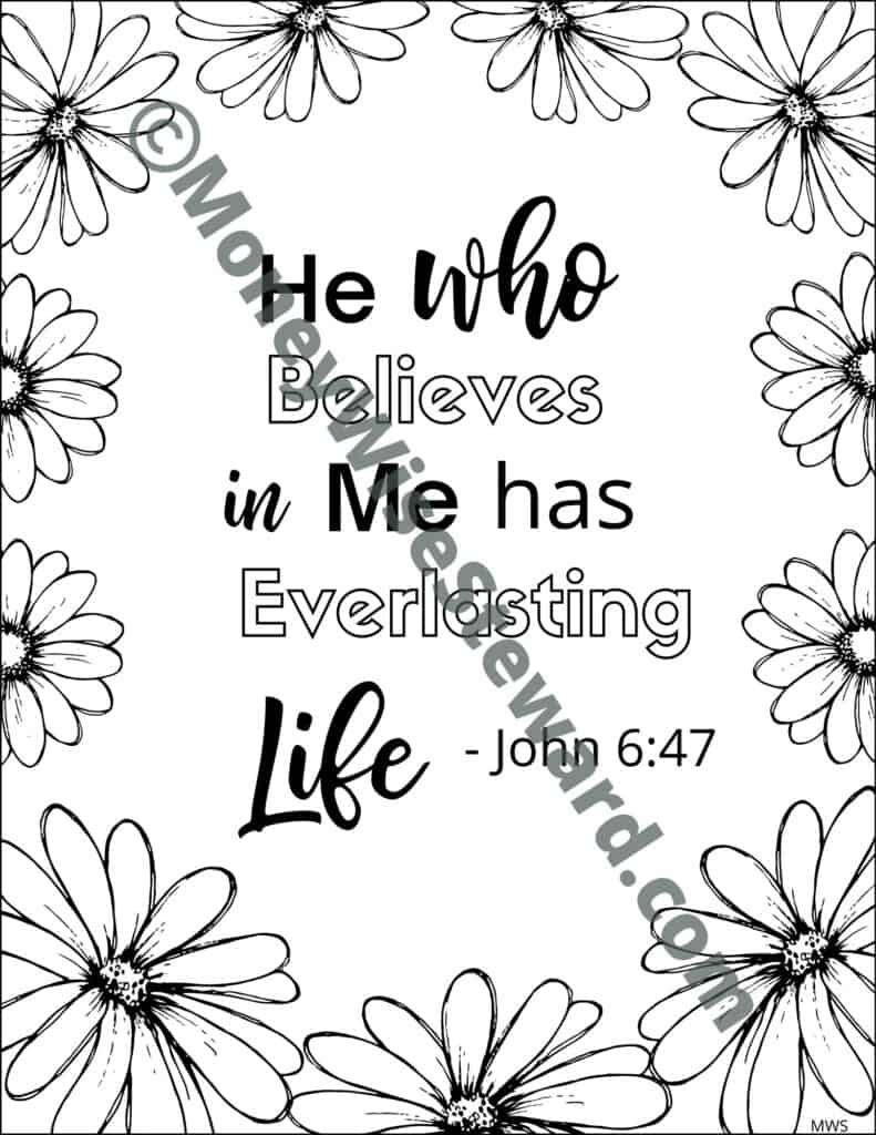 He Who Believes Christian Coloring Page