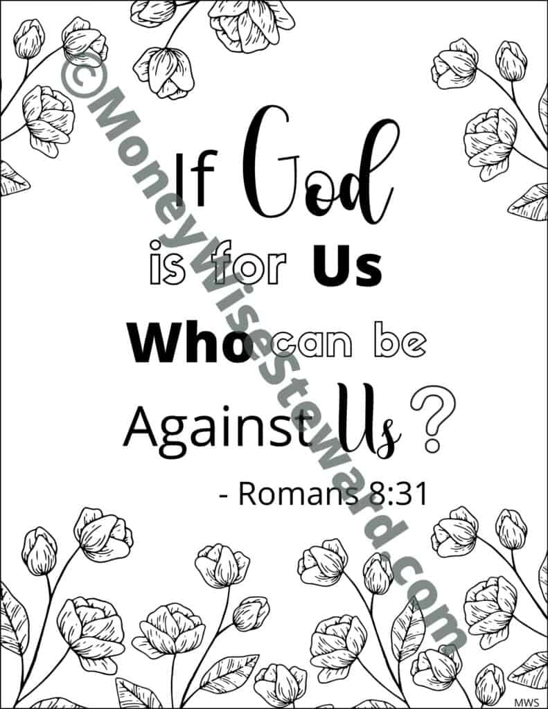 If God is for Us Printable Bible Coloring Page