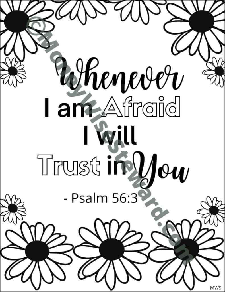 Whenever I am Afraid Scripture Coloring Page