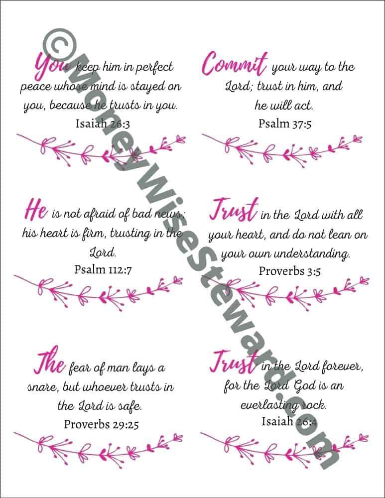 Free Printable Scripture Cards on Trusting God