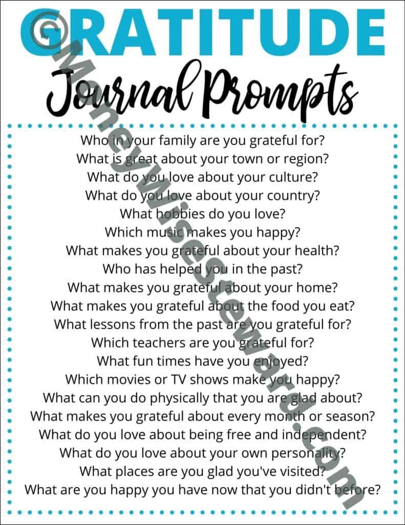 Free Gratitude Journal Prompts Printable